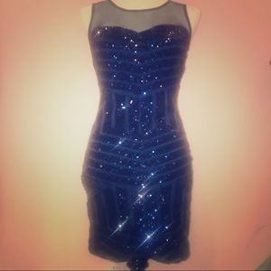 Navy Blue Sequin Fitted Dress